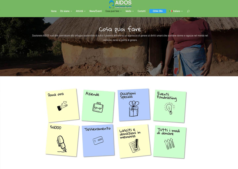 La pagina cosa puoi fare di Aidos
