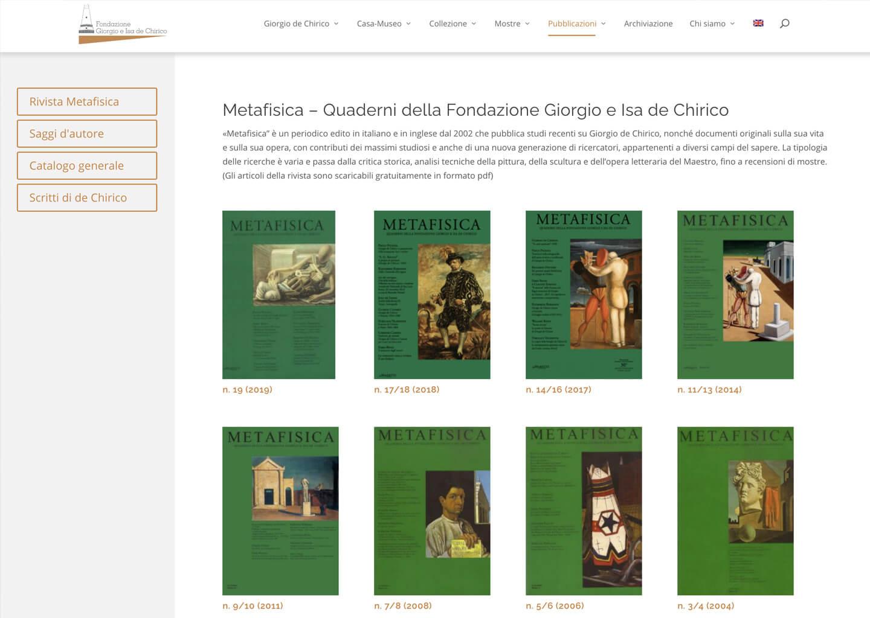 La pagina pubblicazioni di fondazionedechirico.org
