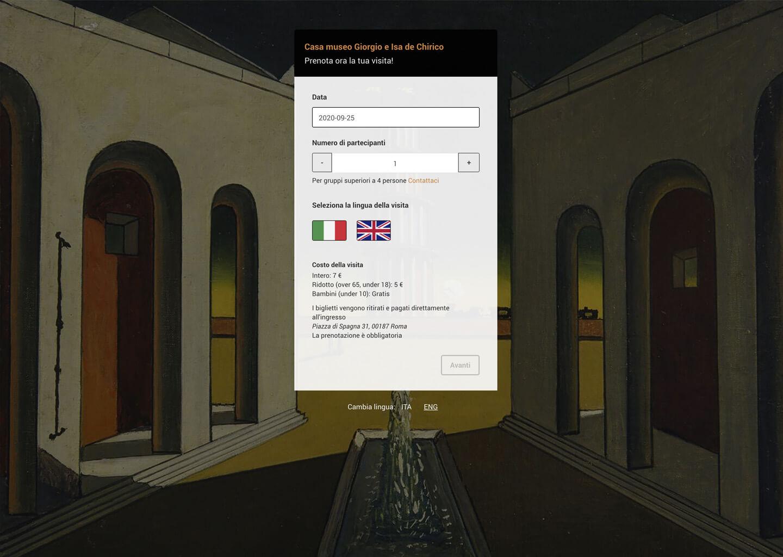 Il modulo prenotazioni di fondazionedechirico.org
