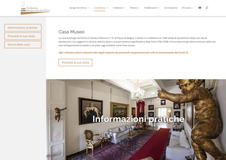 La pagina della Casa Museo su fondazionedechirico.org