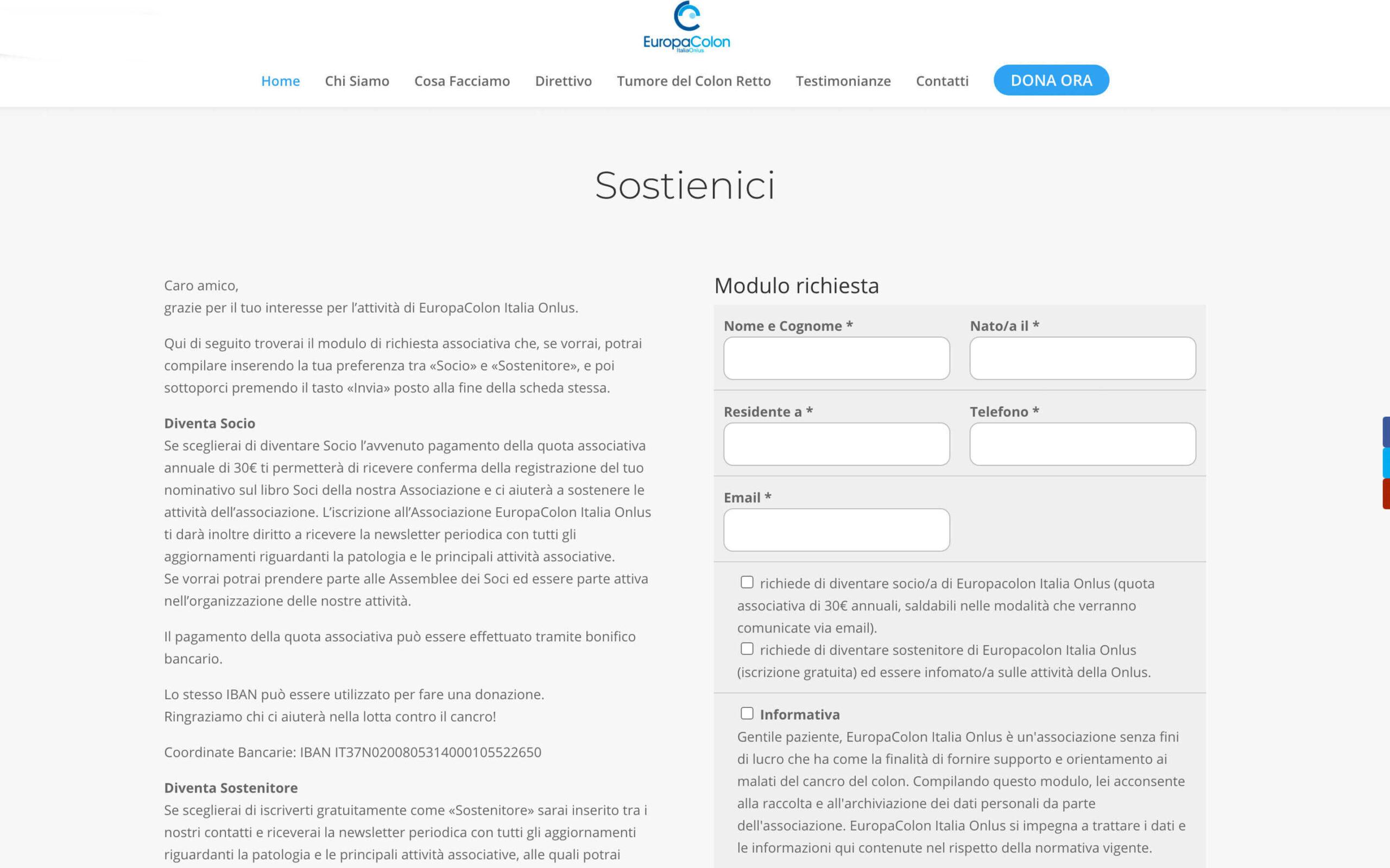 La pagina Dona Ora sul sito di europacolon.it